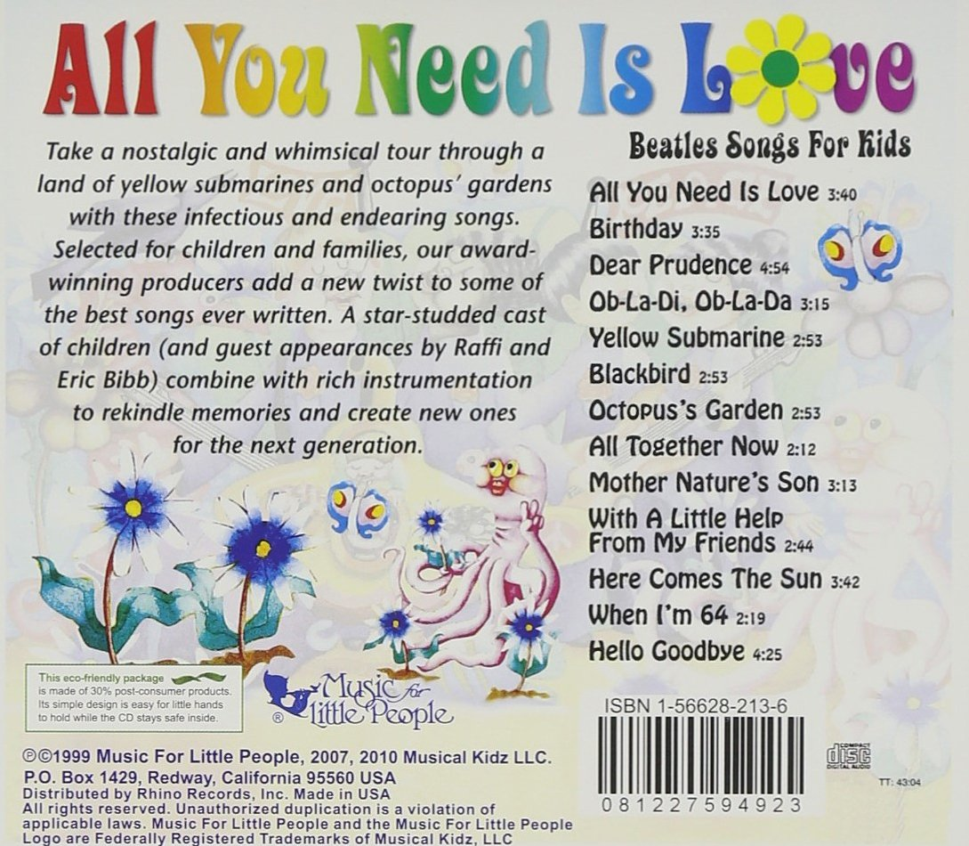 f9d35d31943 Various Artists - All You Need Is Love  Beatles Songs for Kids - Amazon.com  Music