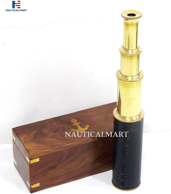 15 Nautical Decor Brass//Leather Spyglass Telescope with Rosewood Box