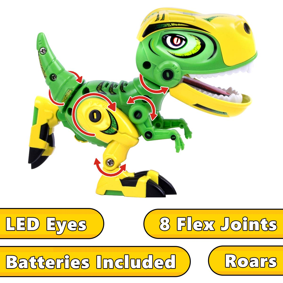 GILOBABY Dinosaur Toys for Kids, Alloy Metal Mini Tyrannosaurus Rex Dinosaur with Shine Eyes and Roaring Sound, Flexible Body, Gift for Toddlers Boys Girls (Green) by GILOBABY (Image #2)