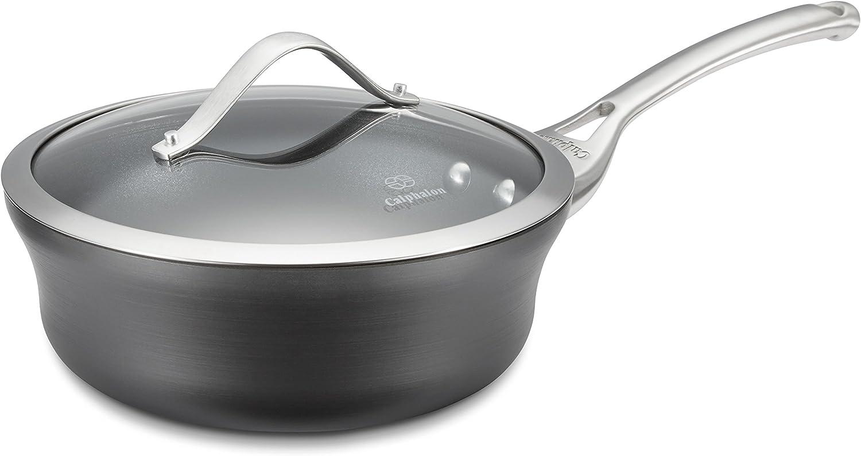 Calphalon 1 1//2-quart Black Easy System Non-Stick Sauce Pan Kitchen Cookware New