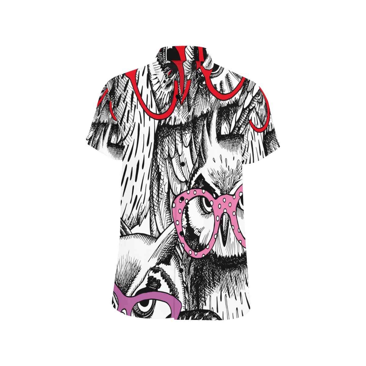 InterestPrint Men Regular Fit Owl Cartoon Style Print Casual Button Down Short Sleeve Shirt S-5XL