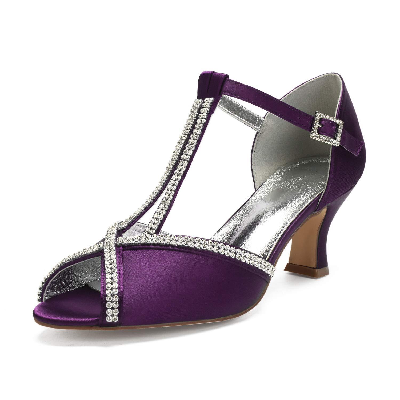 lila Elobaby Frauen Braut Peep Toe Hochzeit Schuhe Plattform Satin Kätzchen High Heels Strass Schnalle Spitze   6,5 cm Ferse
