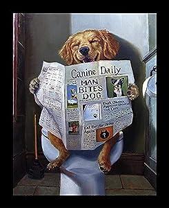 Buyartforless Framed Dog Gone Funny - Dog Reading Newspaper by Lucia Heffernan 10x8 Yellow Lab Art Print Poster Humor