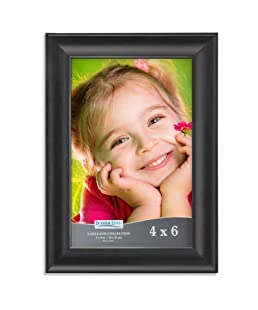 Icona Bay 4x6 Picture Frame (1 Pack, Black), Black Photo Frame 4 x 6, Composite Wood Frame for Walls or Tables, Lakeland Collection