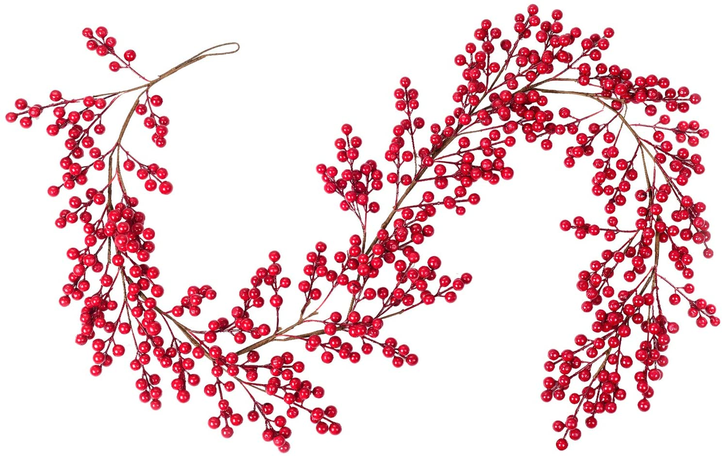 DearHouse 5.58FT Red Berry Christmas Garland, Flexible Artificial Berry Garland for Indoor Outdoor Hone Fireplace Decoration for Winter Christmas Holiday New Year Decor.