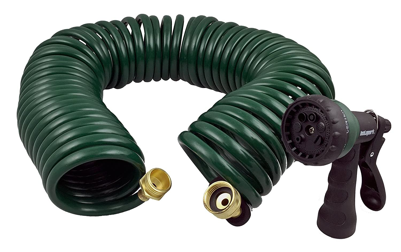 Instapark GHN-06 Heavy-Duty EVA Recoil Garden Hose with 7-Pattern Spray Nozzle, Green, 50 Foot