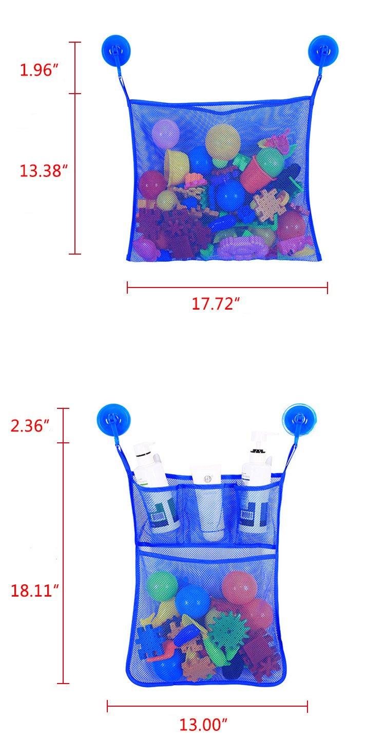 Bath Toy Storage Bathtub Mesh Netting Bathroom Hanging Storage for Kids Toddlers Adults Blue Organizer Bags 2 x Mesh Bath Toy Organizer /& 6 Hooks Suction Cups