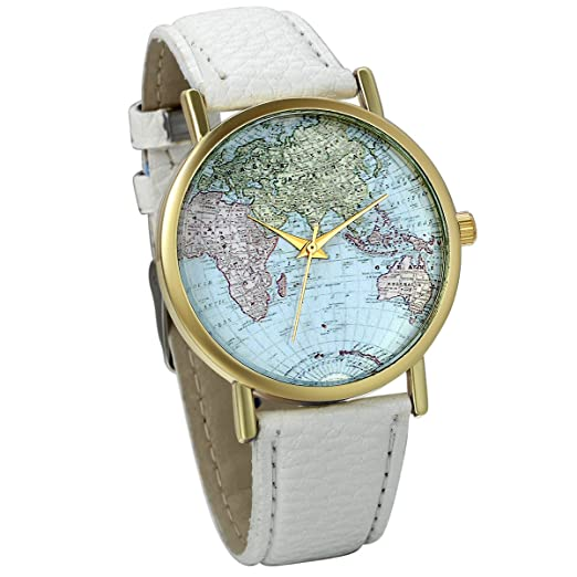 JewelryWe Classic Leather Watch World Map Pattern Quartz Wristwatch Unisex Birthday Gift