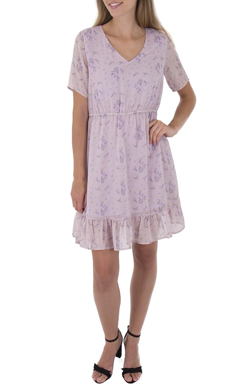 68fdb5b4edc2 Miss Truth V Neck Short Sleeves Frill Hem Dress with Elastic Waist Purple:  Amazon.co.uk: Clothing