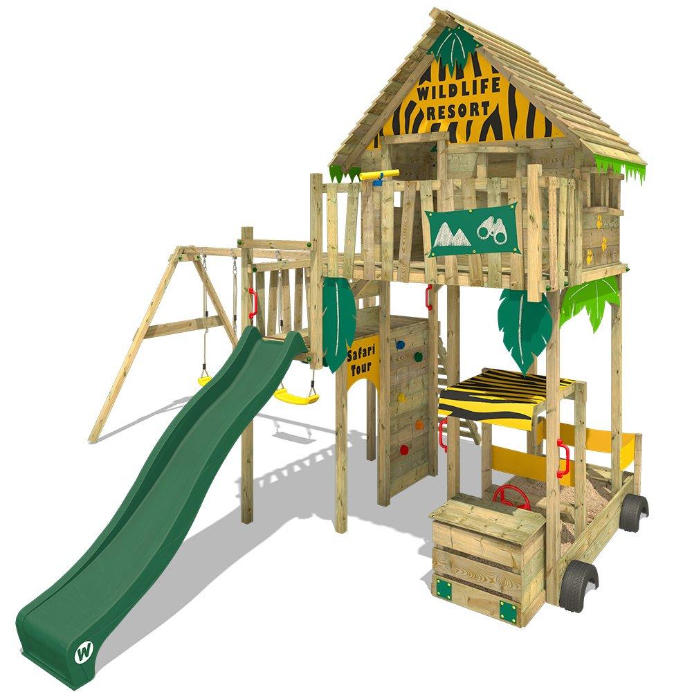 WICKEY Baumhaus Smart Treetop Kletterturm Spielturm mit Rutsche, Doppelschaukel und vielen Klettermöglichkeiten Smart Explore mit Schaukel