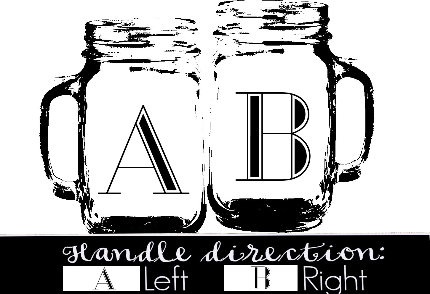 Initial Mr Mrs Set of 2 Personalized Mason Jars Drinking Mugs with Handle Personalized Custom Etched with Name and Date for Wedding, Engagement Anniversary Bridal Party Gift of Favor for Newlyweds Couple Etched Laser Engraved His and Hers Couple Gift Idea by Custom-Engraved-Glasses-by-StockingFactory (Image #2)