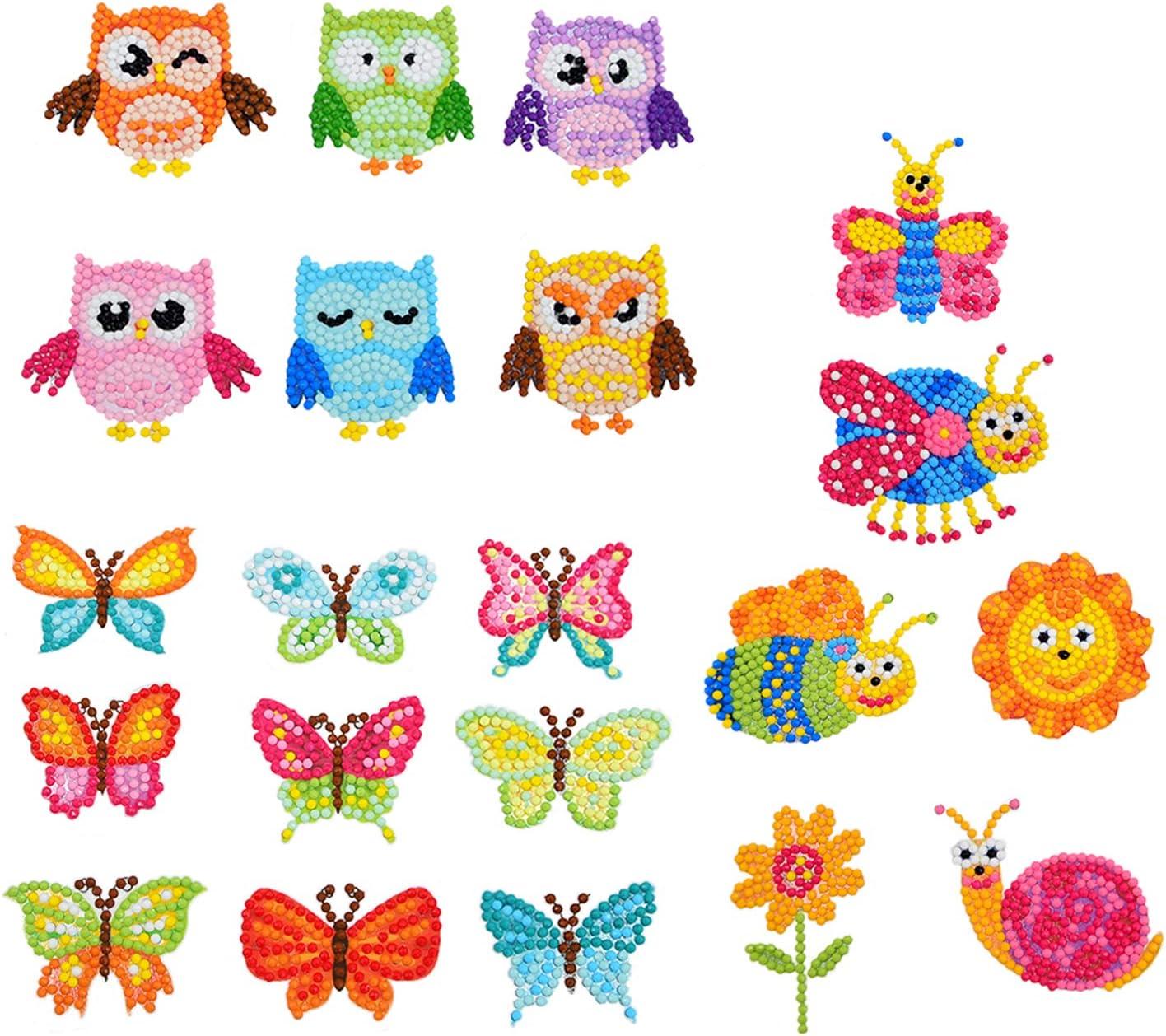 21er Juego de pintura de diamantes 5D para niño niña, juego de manualidades bricolaje pegatinas con imágenes pequeñas para hacer colgantes animales Dotz, juegos de imitación para regalo de cumpleaños