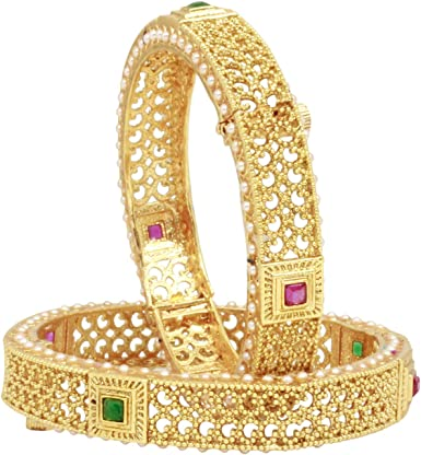 Ethnic Women Gold Plated AD Bangle Indian Bollywood Wedding Fashion Jewelry Set