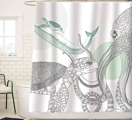 Sunlit Designer Ocean Animals White Fabric Shower Curtain With Sea Turtle Whale Octopus Tentacles Marine Life