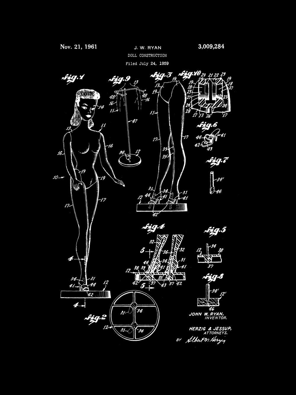 Black Framable Patent Art PAPXSSP57VB The Original Ready to Frame D/écor Barbie Doll Classic Retro Girls 8in by 10in Patent Art Poster Print Vintage