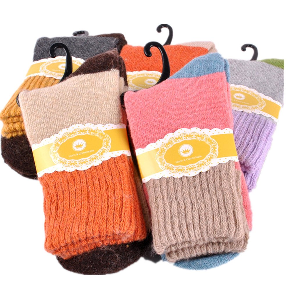 SDBING Women's Super Thick 5 Pairs Soft Comfortable Warm Women's Socks, 22-24