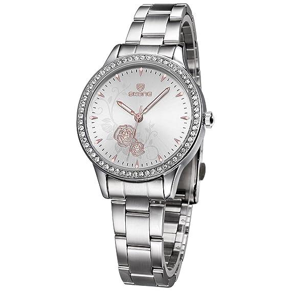 JIANGYUYAN Reloj para mujer Fashion acero esfera de flores rosa vestido Business relojes lujo relojes de pulsera: Amazon.es: Relojes