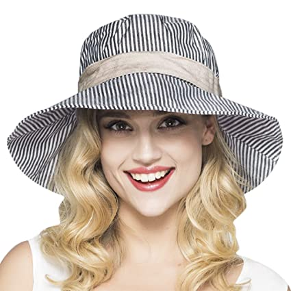 Womens Fashion Stripes Bucket Hat Summer Flap Cover Cap Cotton Sun Hat with  Bowknot Wide Brim 4b78c4ca7120