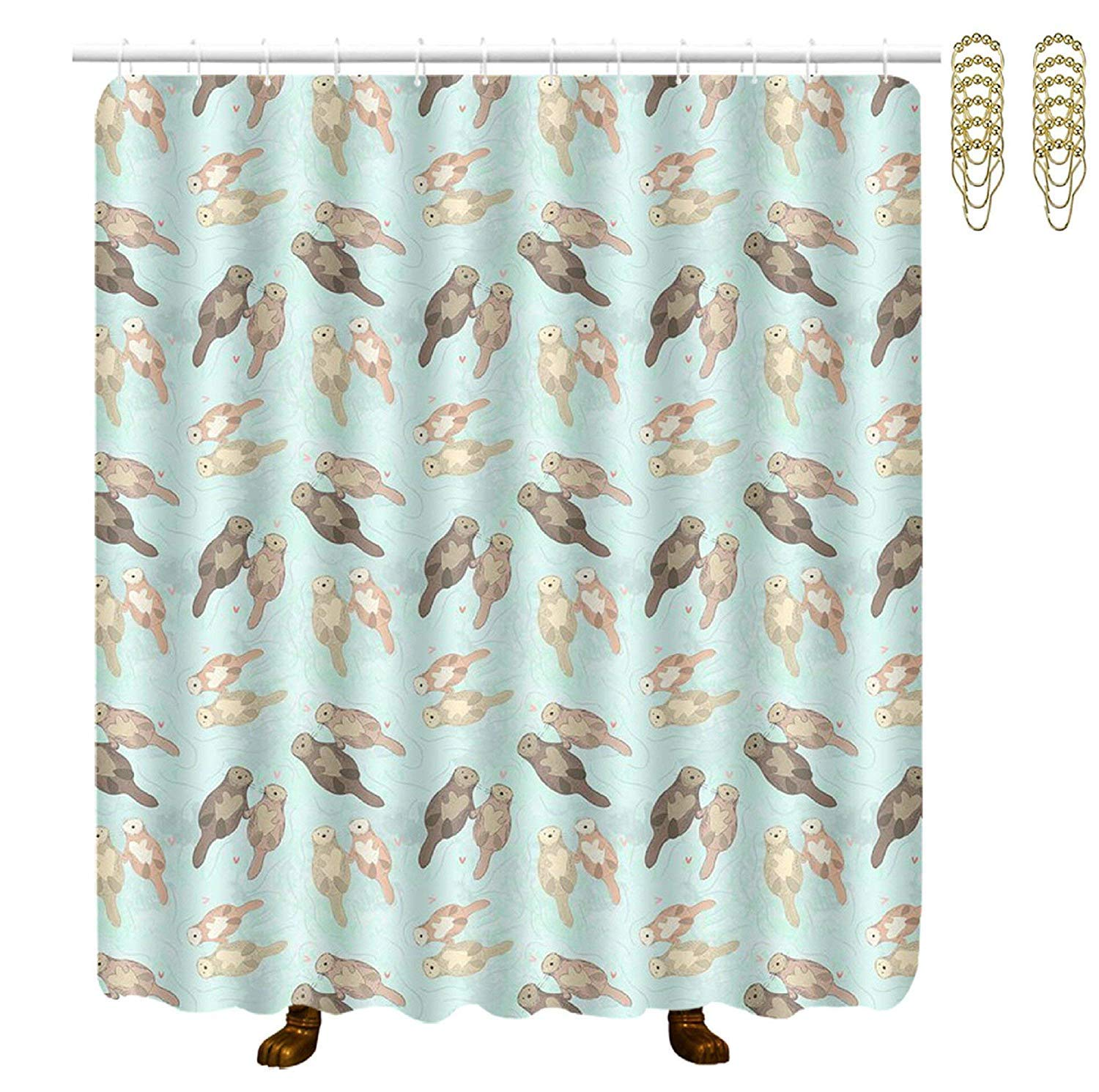 COVASA Decorative Water Repellant Shower Curtain 72x72 Inches Comes with 12 Hooks (Cute Sloths)