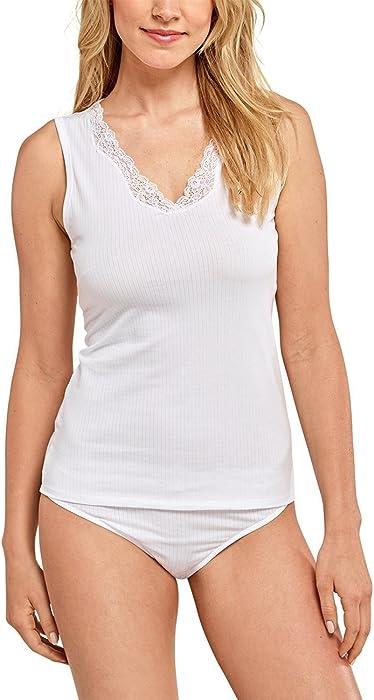 c414dc60e7 Schiesser Damen Unterhemd Shirt 0/0 Arm, (Weiss 100), 40: Amazon.de ...