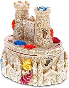 CoTa Global Resin Beige Sandcastle with Seashells Jewelry Box, 3.5 Inch Figurine Intricate & Meticulous Detailing Art Trinket Accessory Storage Tabletop Accent Nautical Beach Castle Themed Home Décor