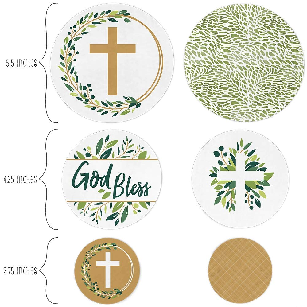 Party Decorations Large Confetti 27 Count Big Dot of Happiness Elegant Cross Religious Party Giant Circle Confetti
