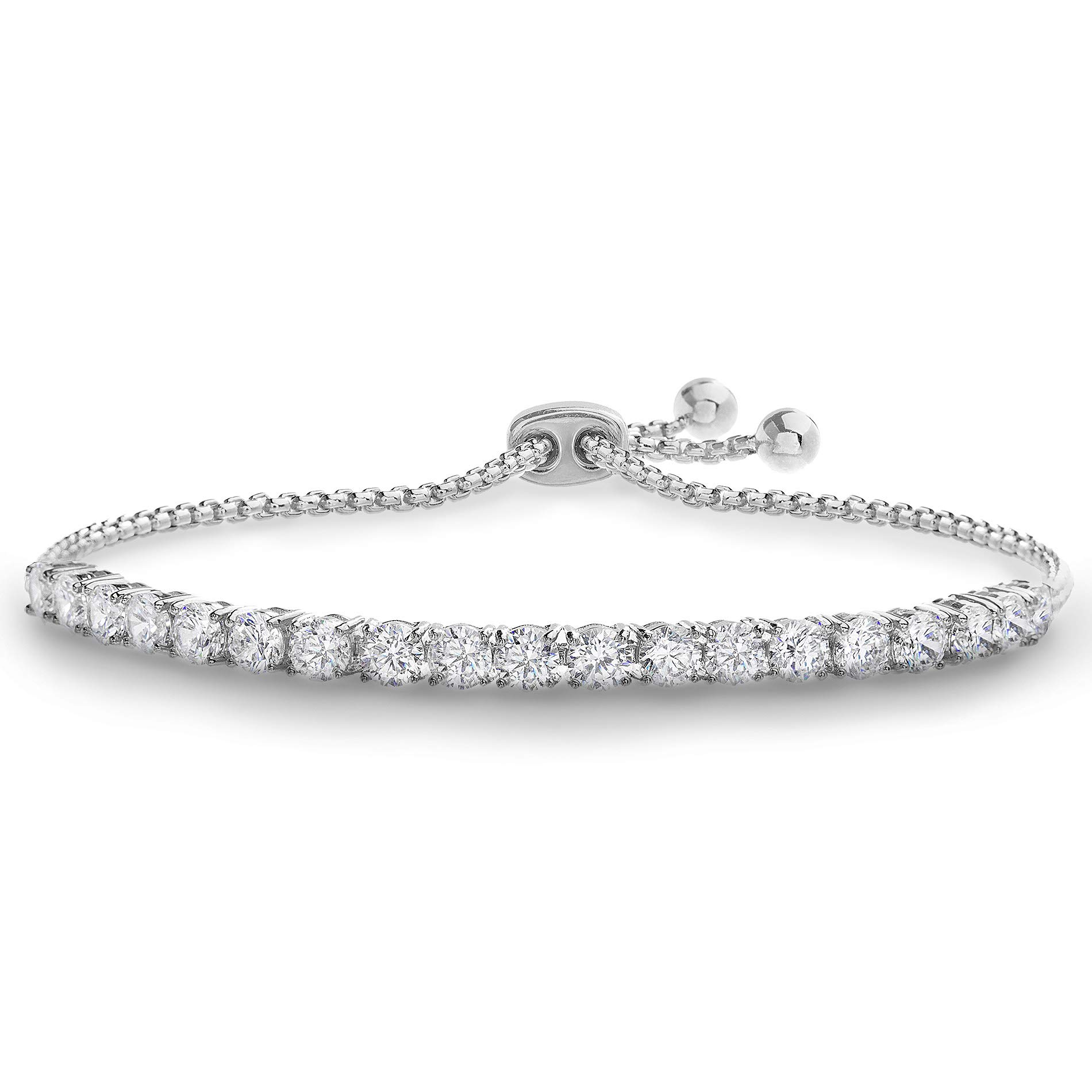Devin Rose 8 Cttw Cubic Zirconia Adjustable Bolo Bracelet for Women in Rhodium Plated Brass (4mm White) by Devin Rose