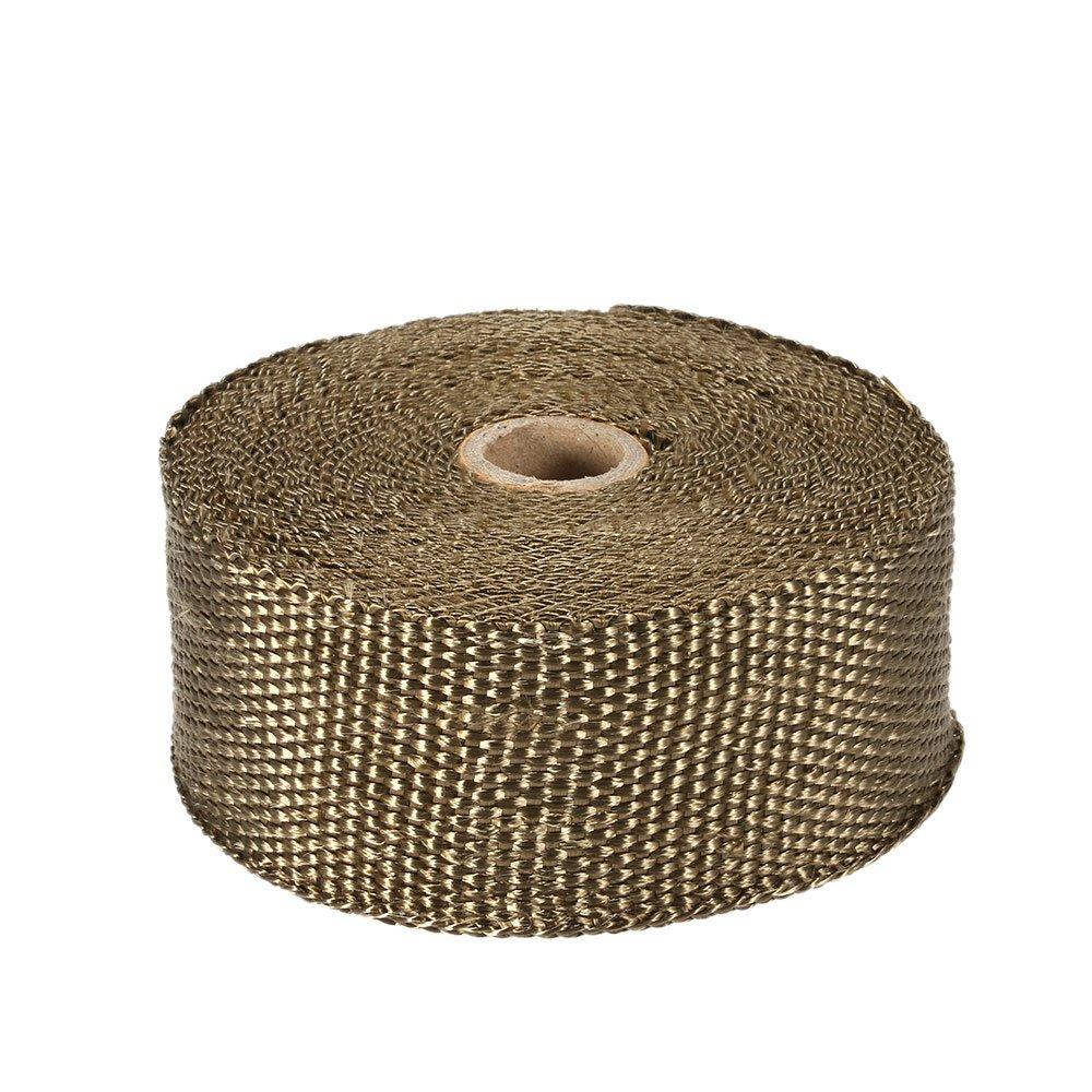 KKmoon - Banda aislante té rmica para colector de escape de 10 m con 10 abrazaderas de 30 cm de cable para coche y moto