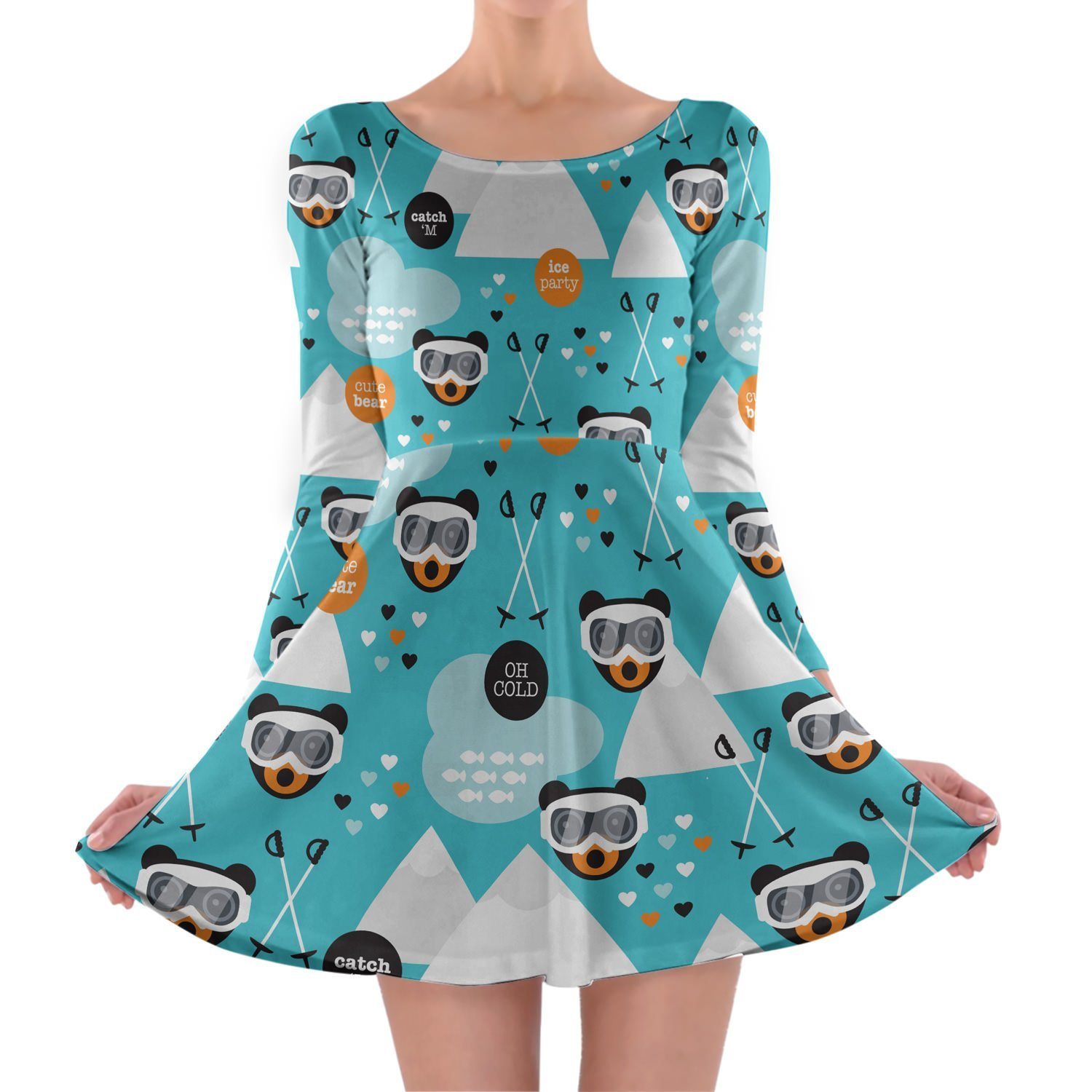 Ski Fun Bears Longsleeve Skater Dress Kleid mit langen Ärmel XS-3XL