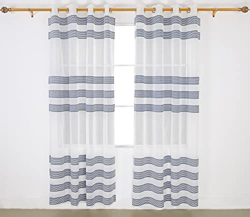 Deconovo Striped Sheer Panels Linen Look Horizontal Chenille Grommet Top Modern Curtains for Bedroom, W52 X L95, Blue