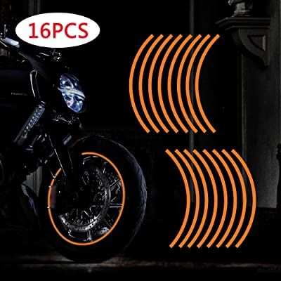 "TOMALL 17""-19"" Reflective Wheel Rim Stripe Decal for Motorcycle Wheels Car Cycling Bike Bicycle Night Reflective Safety Decoration Stripe Universal Rim Reflective Stickers (Orange): Automotive"