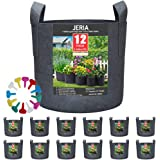 JERIA 12-Pack 5 Gallon, Vegetable/Flower/Plant Grow Bags, Aeration Fabric Pots with Handles (Black), Come with 12 Pcs Plant L