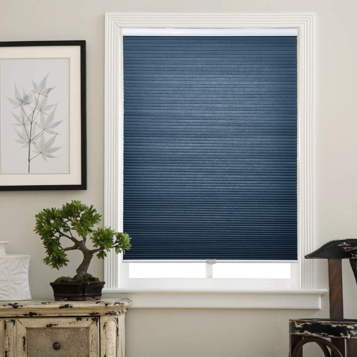 Matinss Cellular Shades Cordless Window Blinds Honeycomb Shades for Home and Windows Bedroom, Light Filtering, Blue, 34x64