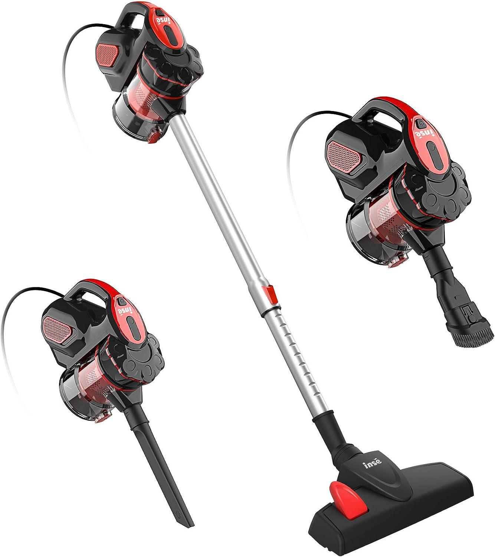 INSE Vacuum Cleaner Corded I5 Stick Vacuum Cleaner 18KPA Powerful Suction 600W Motor Multipurpose 3 in 1 Handheld Vacuum Cleaner