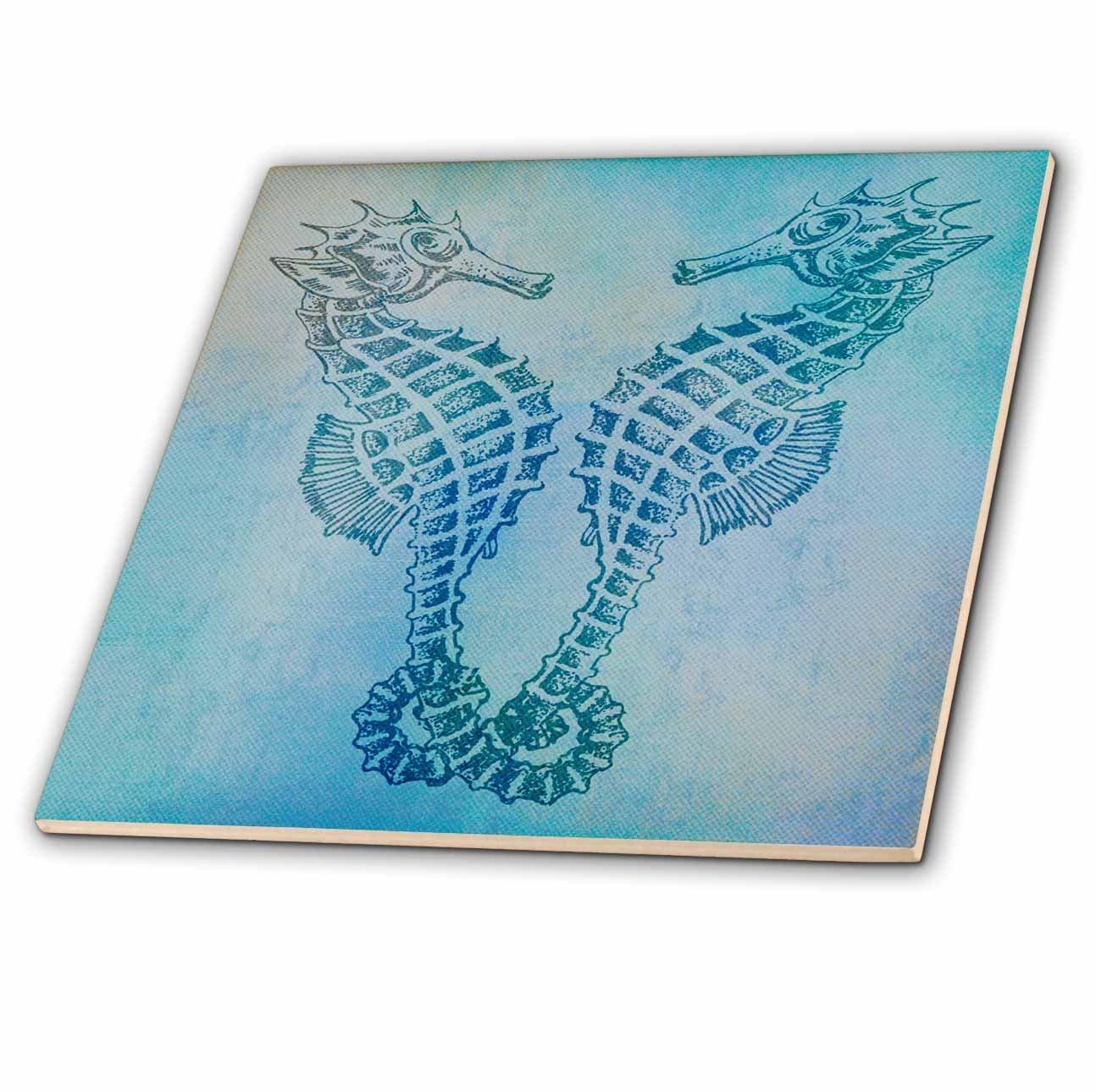 8-Inch 3dRose ct/_79382/_3 Aqua Seahorses Beach Theme Vintage Art Ceramic Tile
