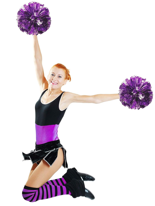 Bememo 2 Pack Cheerleading Pompoms Metallic Flower Ball Foil Plastic Rings Pom Poms for Cheer Dance Team