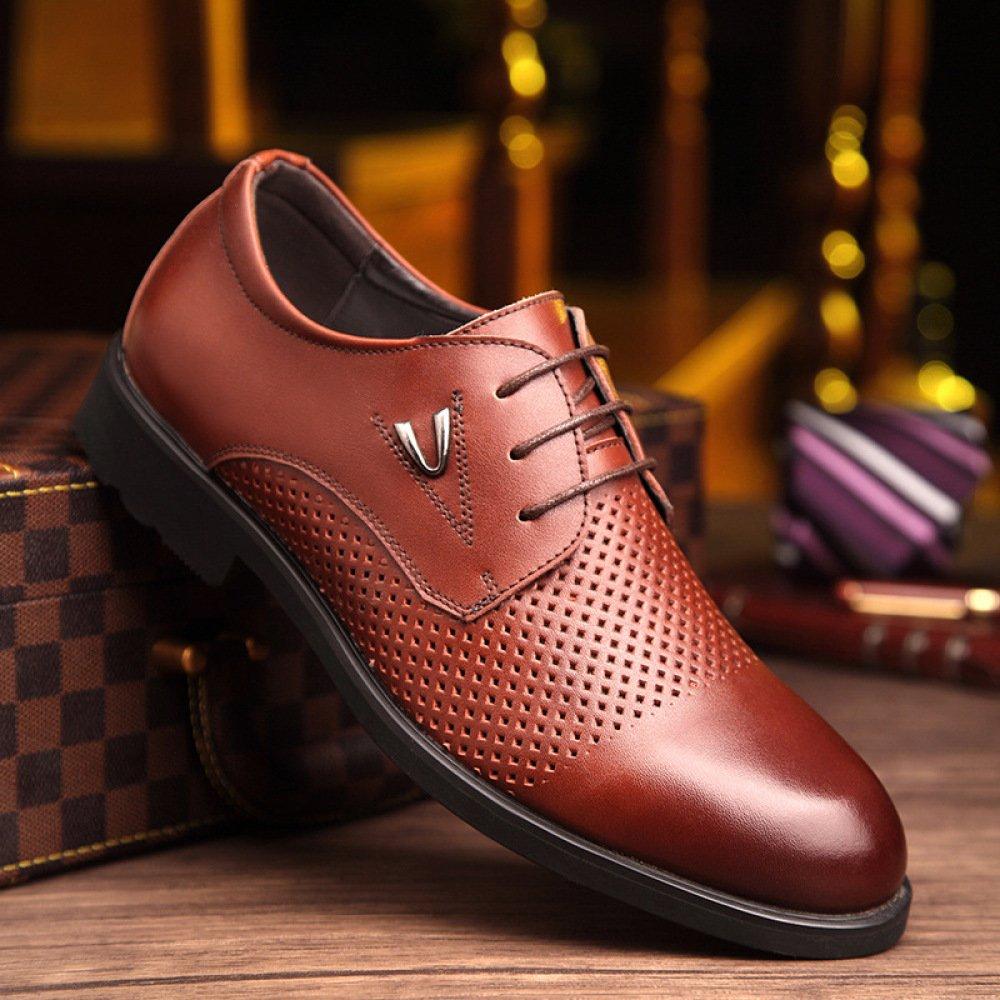 ... LEDLFIE Lederschuhe Herren Sommer Atmungsaktiv Casual Dress Schuhe  Ausschnitte Schnürschuhe Atmungsaktiv Sommer Braun c6d6f1 ... 174a3465e1