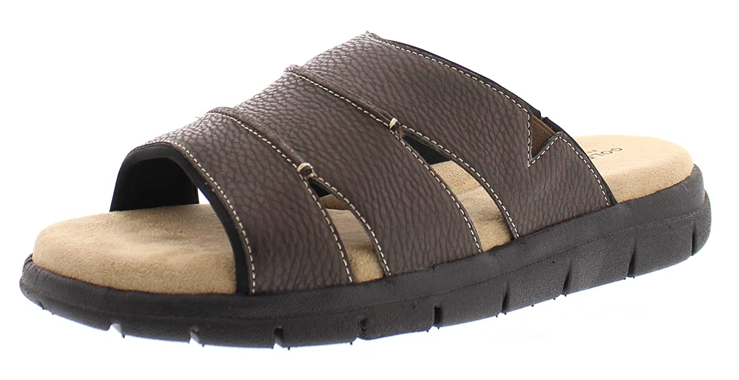 Gold Toe Men's Harbour Casual Outdoor Fisherman Sandal Slip On Open Toe Beach Slides Flats Water Shoes B06XCFCB2H 8.5 D(M) US|Brown