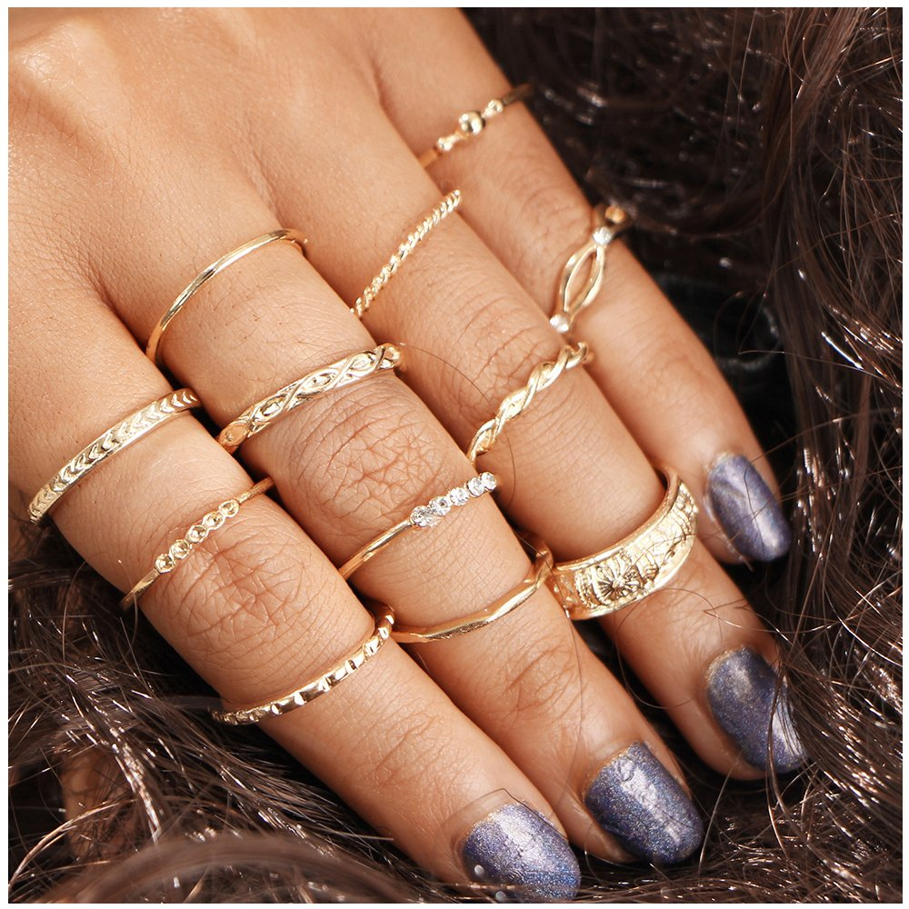 12PCS Bohemian Retro Vintage Crystal Joint Knuckle Ring Sets Finger Rings MINGHUA