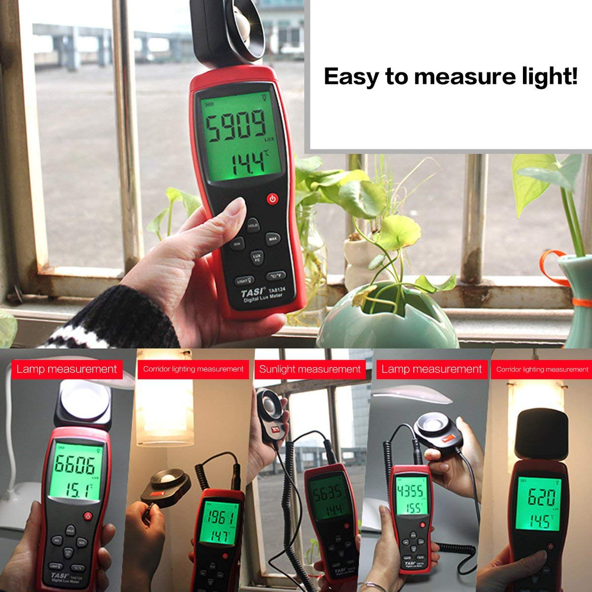 Gugutogo Ta8134 Digital Luxmeter Illuminometer Illuminometro ad alta precisione con luce rossa