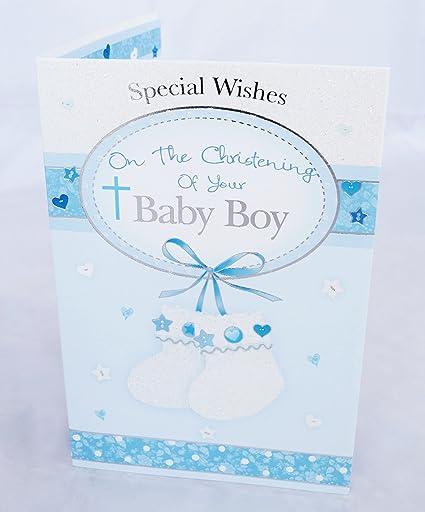 Su tarjeta de Baby Boy bautizo bautismo Cute azul él tarjeta ...