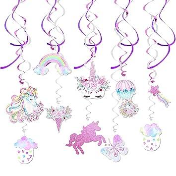 WERNNSAI Decoraciones para Cumpleaños - Unicornio Colgante Remolino Decoraciones Suministros Coloridos Del Partido Unicornio Serpentinas para Niños ...