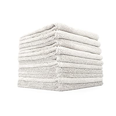 The Rag Company (10-Pack 16 in. x 16 in. Professional Edgeless 70/30 Blend 420 GSM Dual-Pile Plush Microfiber Auto Detailing Towels Creature Edgeless (Light Grey): Automotive