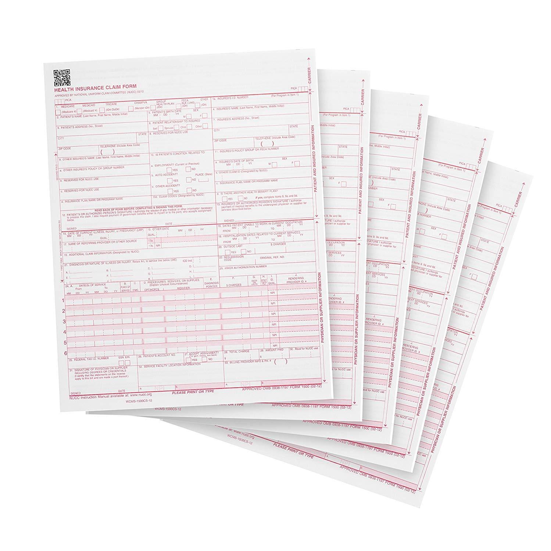 "CMS 1500 Claim Forms""New"" HCFA (Version 02/12) - Health Insurance, Laser Cut Sheet - 500 Sheets"