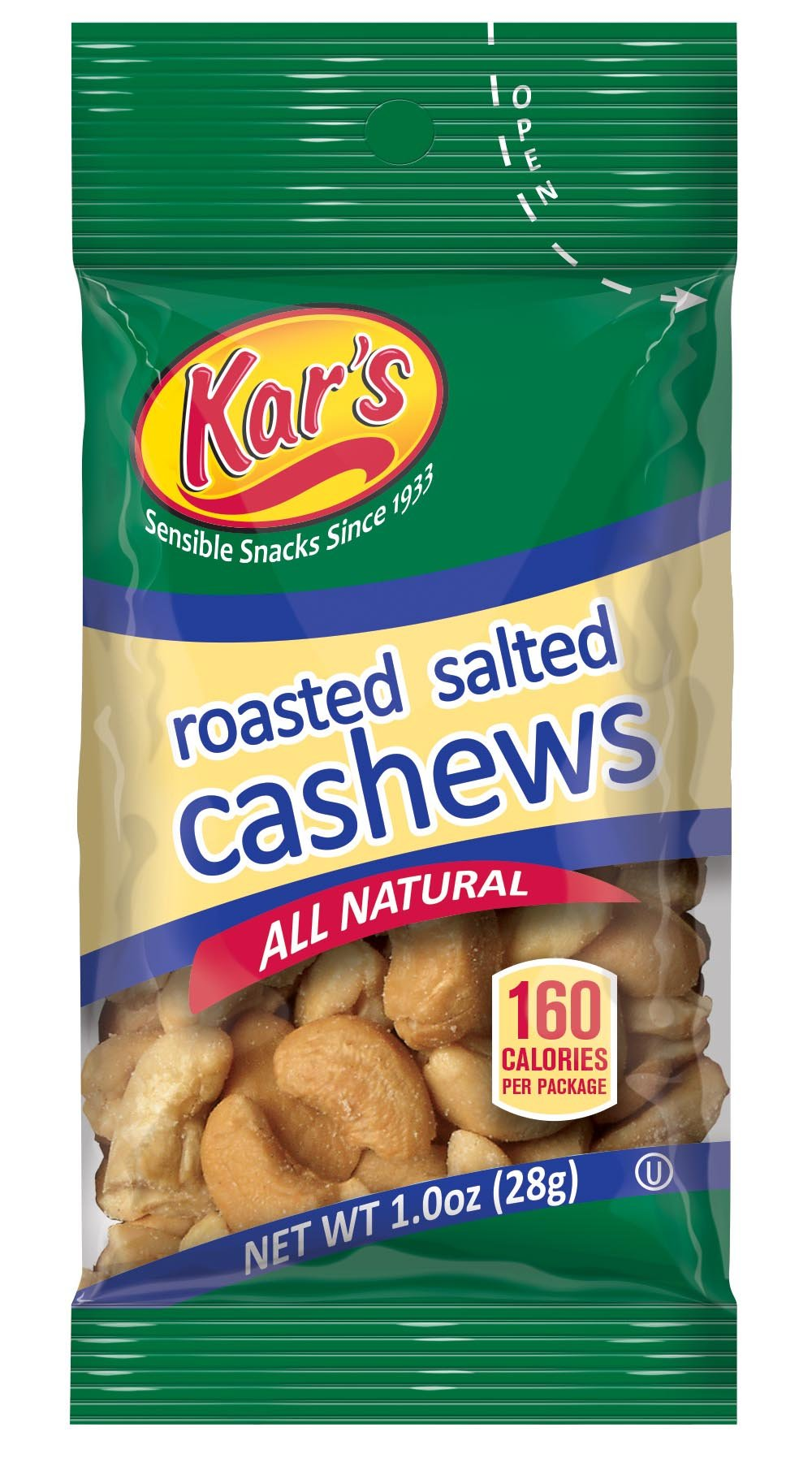 Kar's Nuts Salted Cashews, 1-Ounce Bags (Pack of 100)