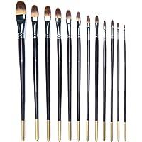 MEEDEN 12 Pcs Artist Filbert Paint Brush Set Long Handle for Watercolour Acrylic Oil Painting