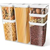 TBMax Airtight Food Storage Containers, Set of 6 BPA-Free Plastic Cereal Dispenser for Kitchen Pantry Organization and…