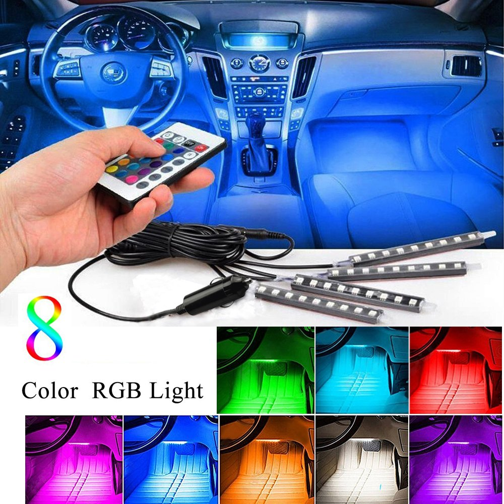 Car Inside Lights, Karono 4pc. 8 Color Music Car Interior Light LED Under Dash Lighting Decoration Accessories kit - Sound Active Function - Wireless Remote Control