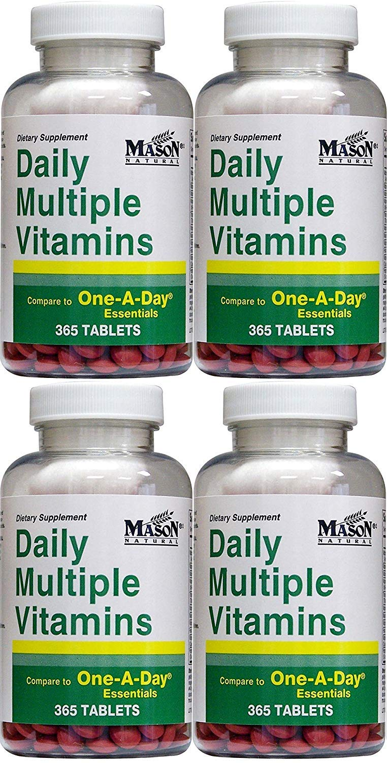Daily Multiple Vitamins Compare To One A Day Essentials Multivitamin Multimineral Supplement 365 Tablets per Bottle Pack of 4 Total 1460 Tablets