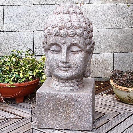 zenggp Cabeza De Buda Estatua del Jardín Ornamento Casero Zen Jardín Asiático O Decoración para El Hogar Estatua De Buda Escultura Cemento: Amazon.es: Hogar